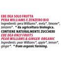 Ingredienti Ebe Dea 240g pere williams e zenzero solo frutta senza zucchero
